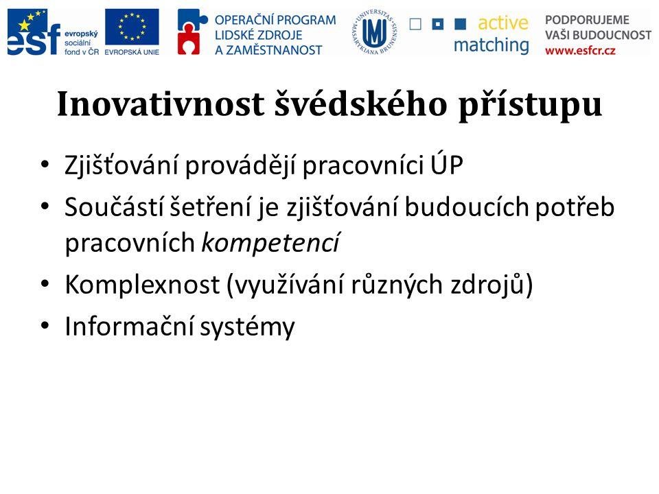 Inovativnost švédského přístupu Zjišťování provádějí pracovníci ÚP Součástí šetření je zjišťování budoucích potřeb pracovních kompetencí Komplexnost (využívání různých zdrojů) Informační systémy