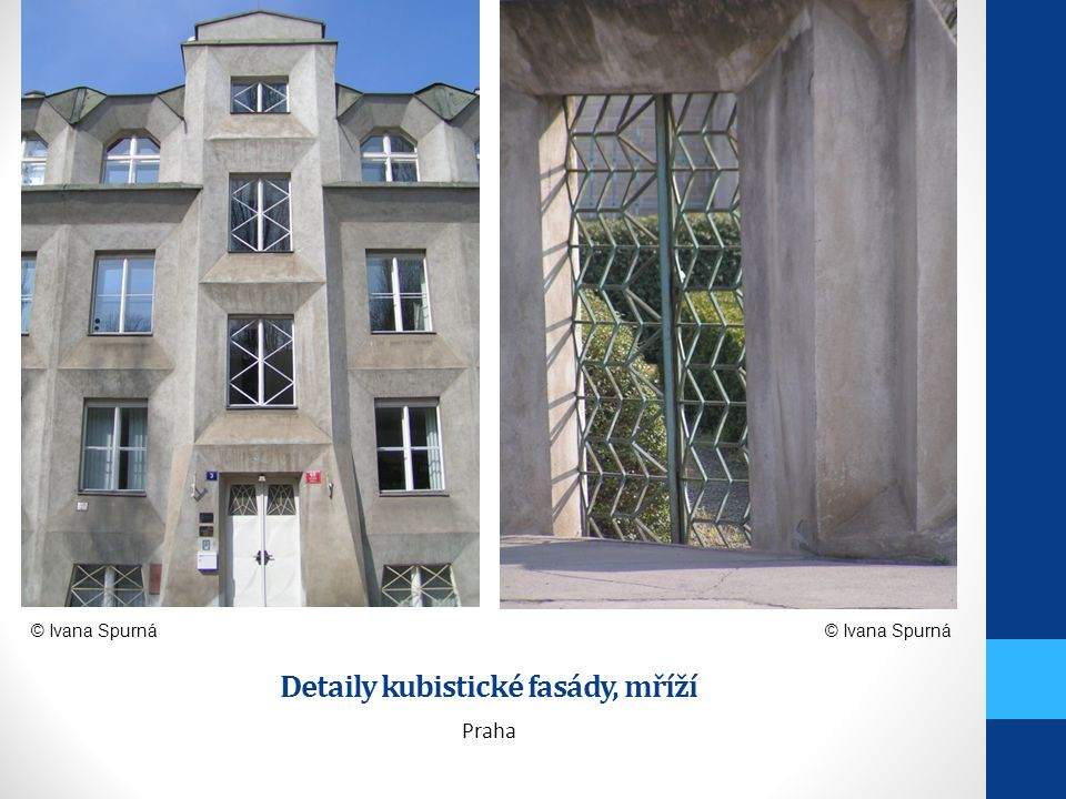 Detaily kubistické fasády, mříží Praha © Ivana Spurná