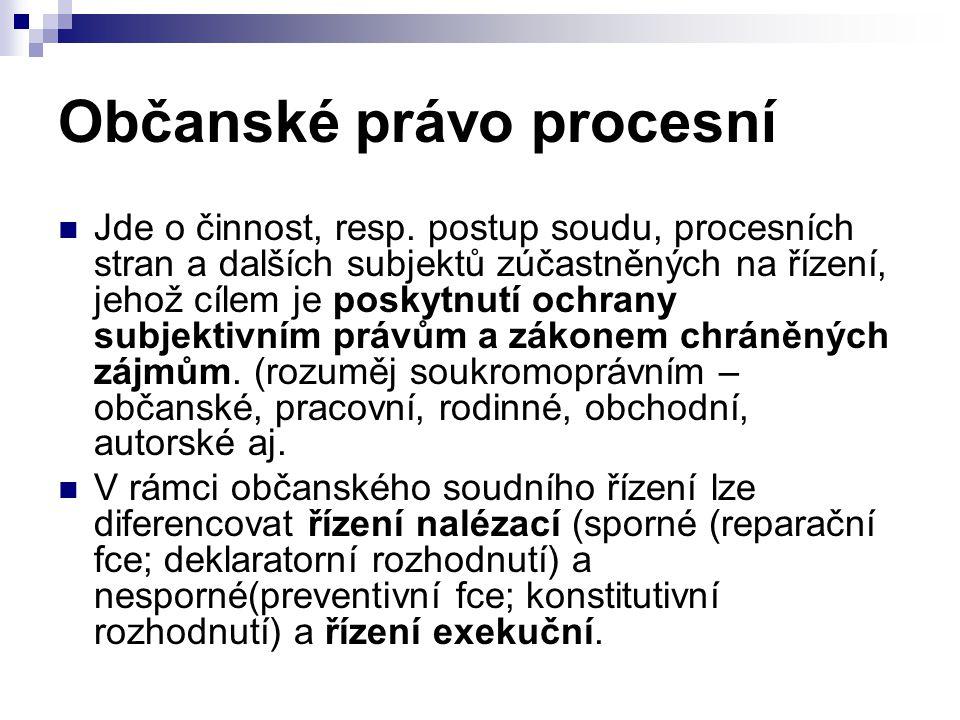 Občanské právo procesní Jde o činnost, resp.