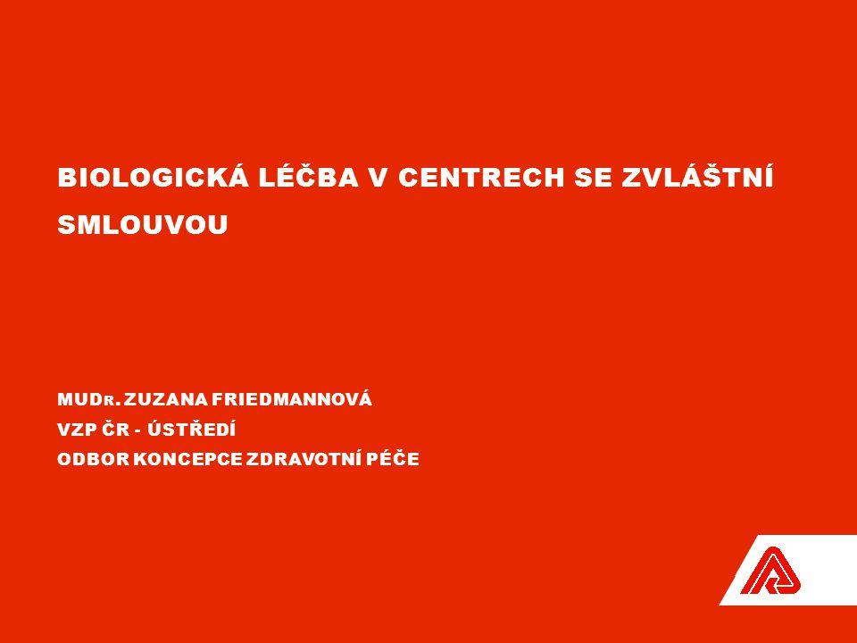 BIOLOGICKÁ LÉČBA V CENTRECH SE ZVLÁŠTNÍ SMLOUVOU MUD R. ZUZANA FRIEDMANNOVÁ VZP ČR - ÚSTŘEDÍ ODBOR KONCEPCE ZDRAVOTNÍ PÉČE