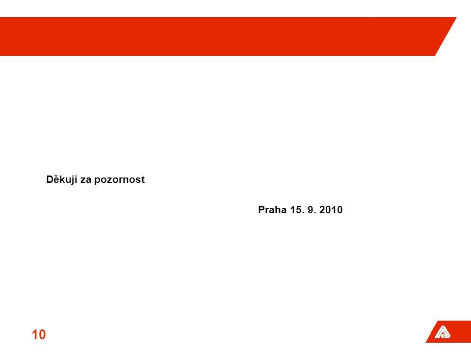 Děkuji za pozornost Praha 15. 9. 2010 10