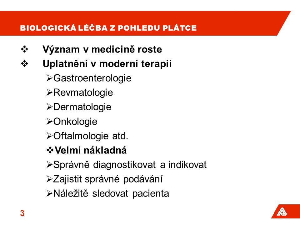 BIOLOGICKÁ LÉČBA Z POHLEDU PLÁTCE  Význam v medicině roste  Uplatnění v moderní terapii  Gastroenterologie  Revmatologie  Dermatologie  Onkologi