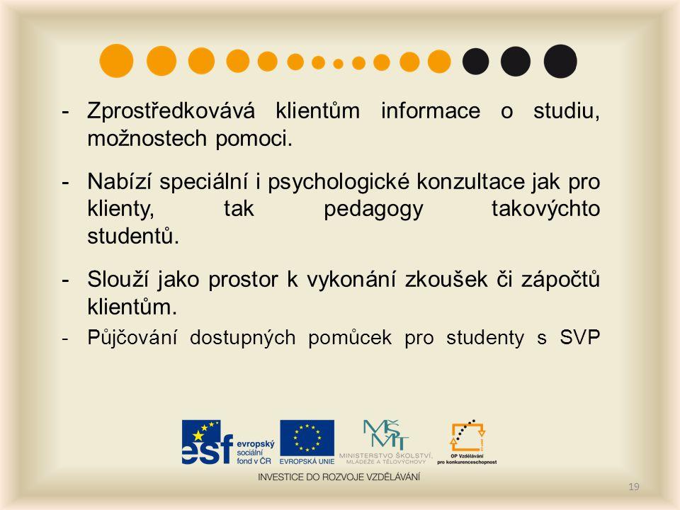 -Zprostředkovává klientům informace o studiu, možnostech pomoci. -Nabízí speciální i psychologické konzultace jak pro klienty, tak pedagogy takovýchto