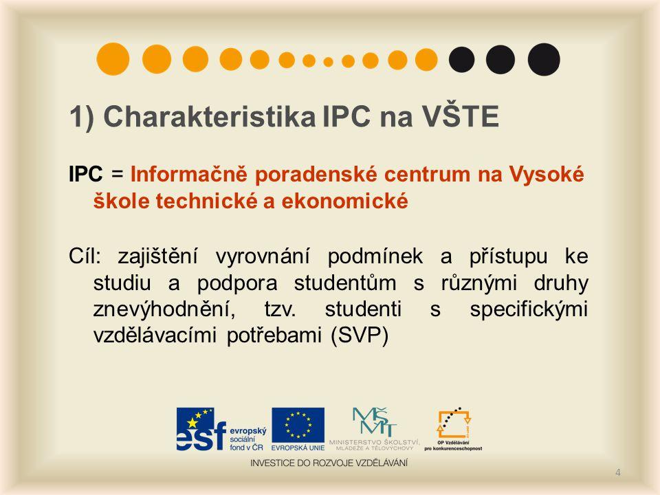 1) Charakteristika IPC na VŠTE IPC = Informačně poradenské centrum na Vysoké škole technické a ekonomické Cíl: zajištění vyrovnání podmínek a přístupu