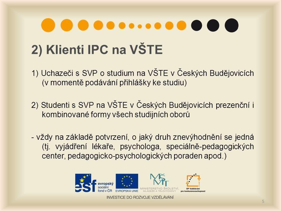 2) Klienti IPC na VŠTE 1) Uchazeči s SVP o studium na VŠTE v Českých Budějovicích (v momentě podávání přihlášky ke studiu) 2) Studenti s SVP na VŠTE v