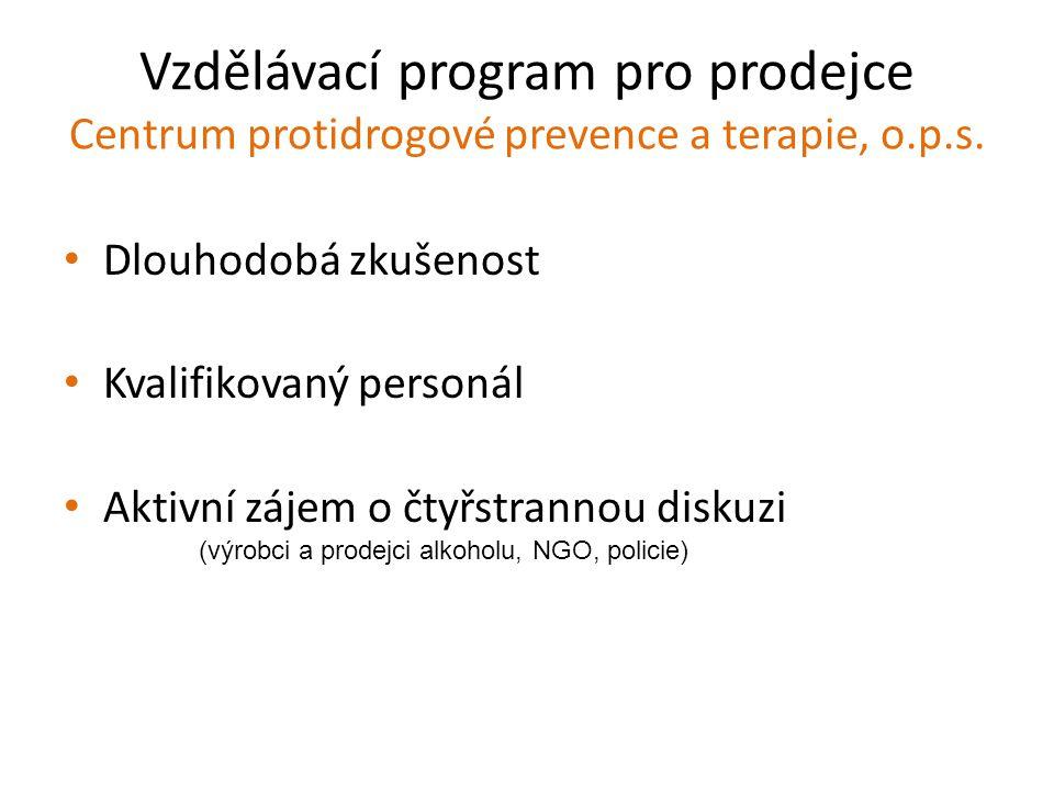 Vzdělávací program pro prodejce Centrum protidrogové prevence a terapie, o.p.s. Dlouhodobá zkušenost Kvalifikovaný personál Aktivní zájem o čtyřstrann