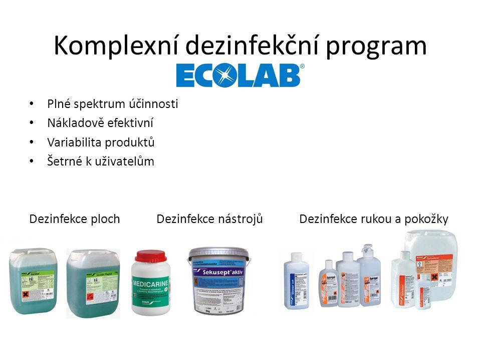 Komplexní dezinfekční program Plné spektrum účinnosti Nákladově efektivní Variabilita produktů Šetrné k uživatelům Dezinfekce ploch Dezinfekce nástrojů Dezinfekce rukou a pokožky