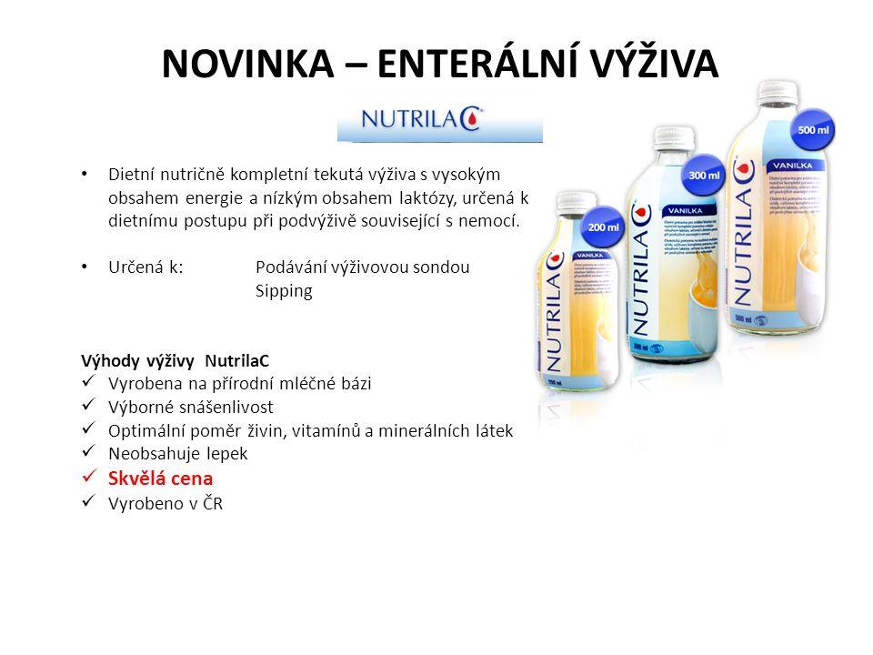 NOVINKA – ENTERÁLNÍ VÝŽIVA Dietní nutričně kompletní tekutá výživa s vysokým obsahem energie a nízkým obsahem laktózy, určená k dietnímu postupu při podvýživě související s nemocí.