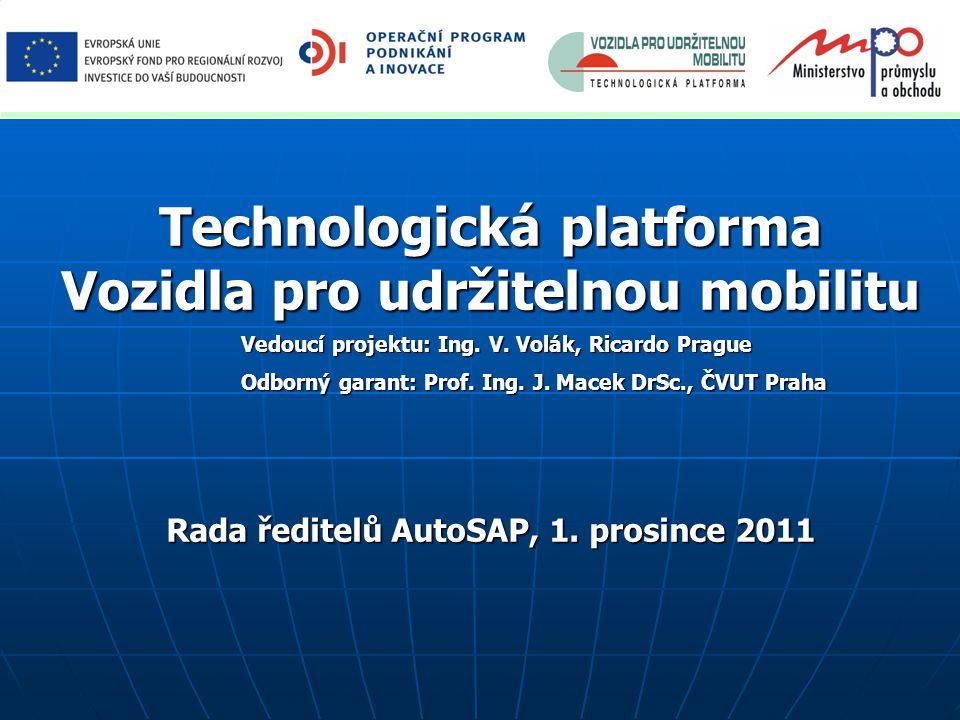 Technologická platforma Vozidla pro udržitelnou mobilitu Vedoucí projektu: Ing.