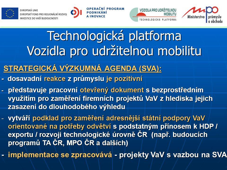 Technologická platforma Vozidla pro udržitelnou mobilitu STRATEGICKÁ VÝZKUMNÁ AGENDA (SVA): STRATEGICKÁ VÝZKUMNÁ AGENDA (SVA): - dosavadní reakce z průmyslu je pozitivní - představuje pracovní otevřený dokument s bezprostředním využitím pro zaměření firemních projektů VaV z hlediska jejich zasazení do dlouhodobého výhledu -vytváří podklad pro zaměření adresnější státní podpory VaV orientované na potřeby odvětví s podstatným přínosem k HDP / exportu / rozvoji technologické úrovně ČR (např.