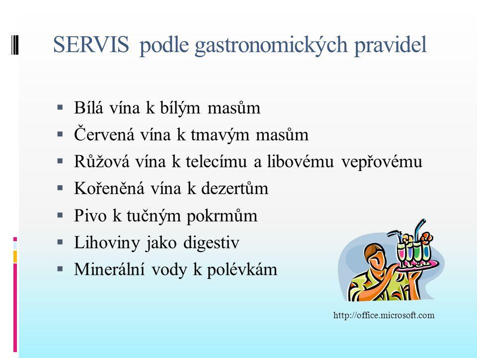 SERVIS podle gastronomických pravidel  Bílá vína k bílým masům  Červená vína k tmavým masům  Růžová vína k telecímu a libovému vepřovému  Kořeněná