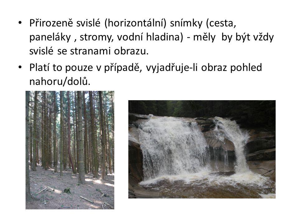 Přirozeně svislé (horizontální) snímky (cesta, paneláky, stromy, vodní hladina) - měly by být vždy svislé se stranami obrazu.