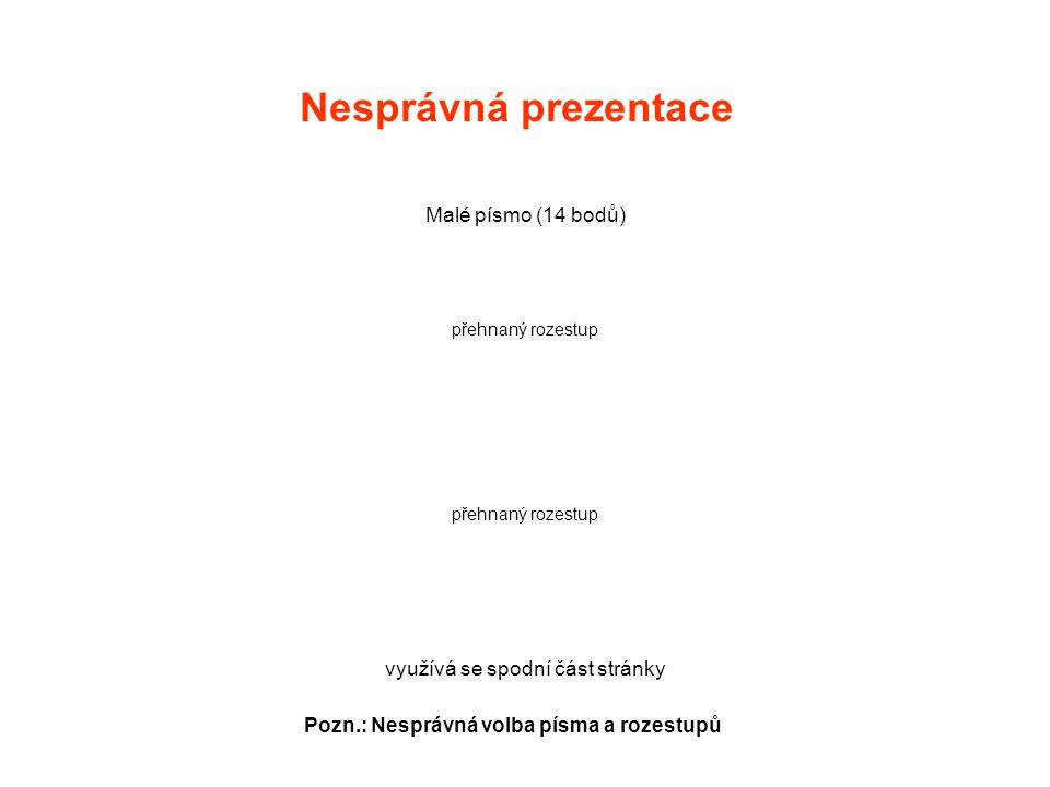 Nesprávná prezentace Malé písmo (14 bodů) přehnaný rozestup využívá se spodní část stránky Pozn.: Nesprávná volba písma a rozestupů