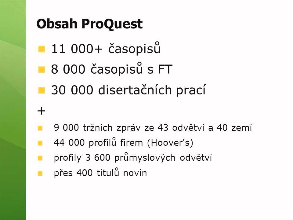 Obsah ProQuest 11 000+ časopisů 8 000 časopisů s FT 30 000 disertačních prací + 9 000 tržních zpráv ze 43 odvětví a 40 zemí 44 000 profilů firem (Hoover s) profily 3 600 průmyslových odvětví přes 400 titulů novin