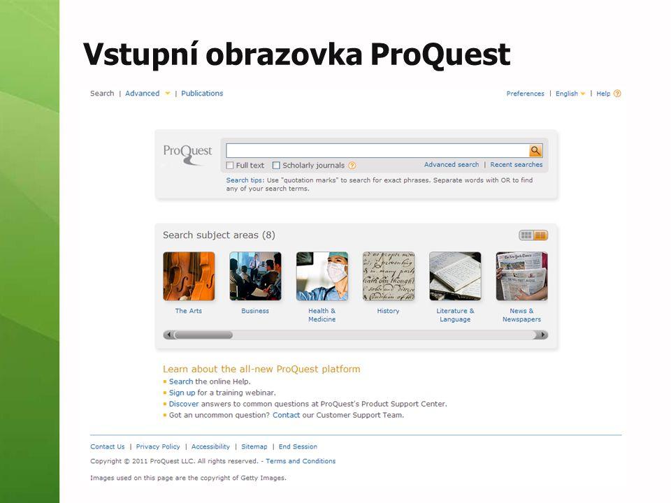 Vstupní obrazovka ProQuest