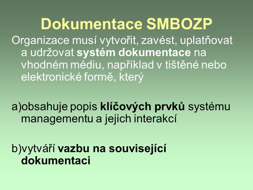 Dokumentace SMBOZP Organizace musí vytvořit, zavést, uplatňovat a udržovat systém dokumentace na vhodném médiu, například v tištěné nebo elektronické formě, který a)obsahuje popis klíčových prvků systému managementu a jejich interakcí b)vytváří vazbu na související dokumentaci