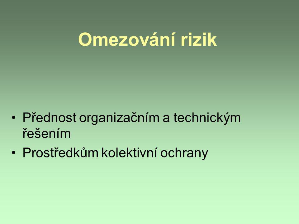 Omezování rizik Přednost organizačním a technickým řešením Prostředkům kolektivní ochrany