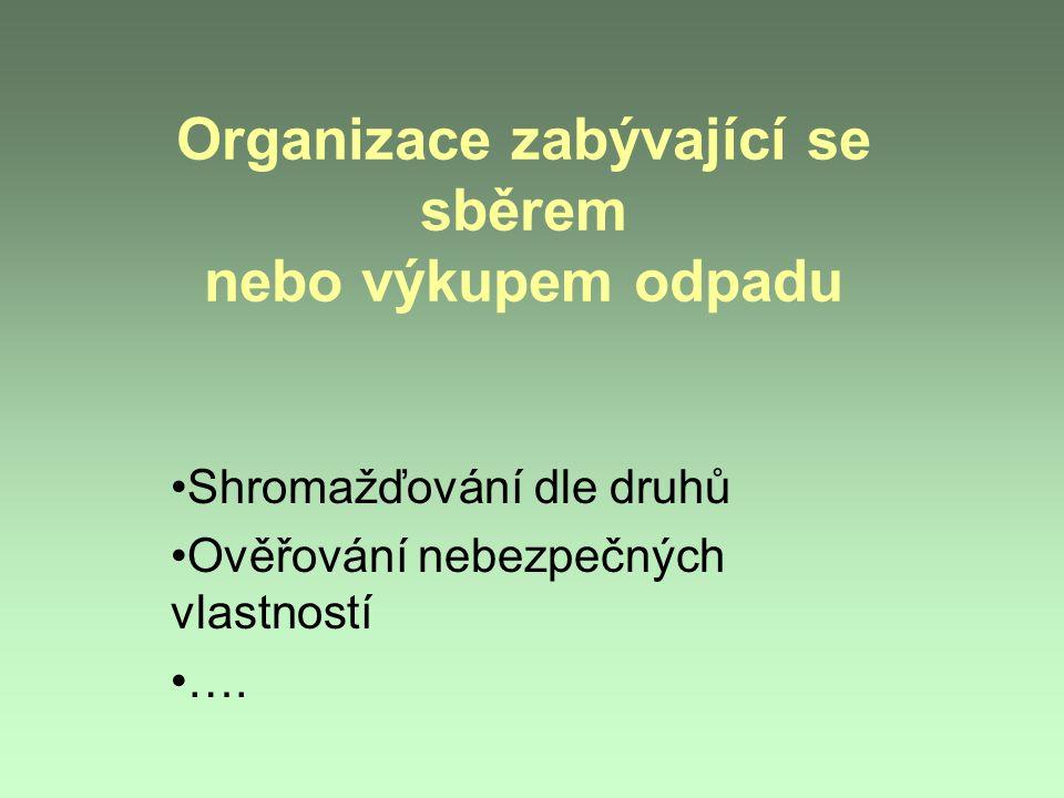 Organizace zabývající se sběrem nebo výkupem odpadu Shromažďování dle druhů Ověřování nebezpečných vlastností ….