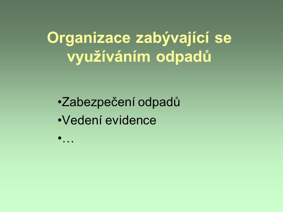 Organizace zabývající se využíváním odpadů Zabezpečení odpadů Vedení evidence …