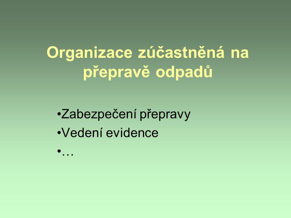 Organizace zúčastněná na přepravě odpadů Zabezpečení přepravy Vedení evidence …