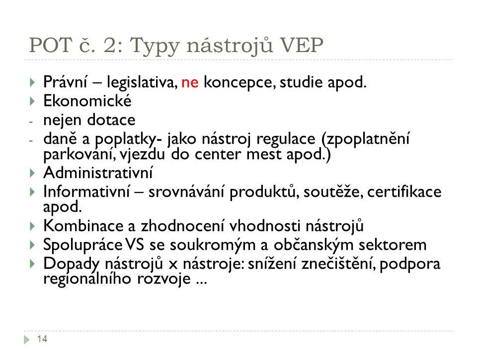 POT č. 2: Typy nástrojů VEP 14  Právní – legislativa, ne koncepce, studie apod.