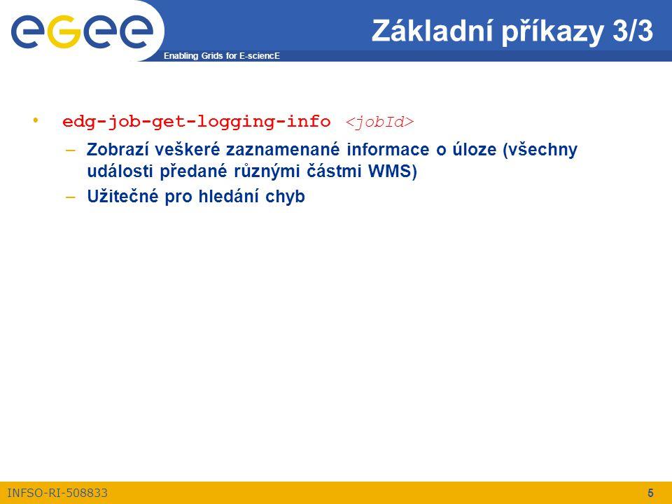 Enabling Grids for E-sciencE INFSO-RI-508833 5 edg-job-get-logging-info –Zobrazí veškeré zaznamenané informace o úloze (všechny události předané různými částmi WMS) –Užitečné pro hledání chyb Základní příkazy 3/3