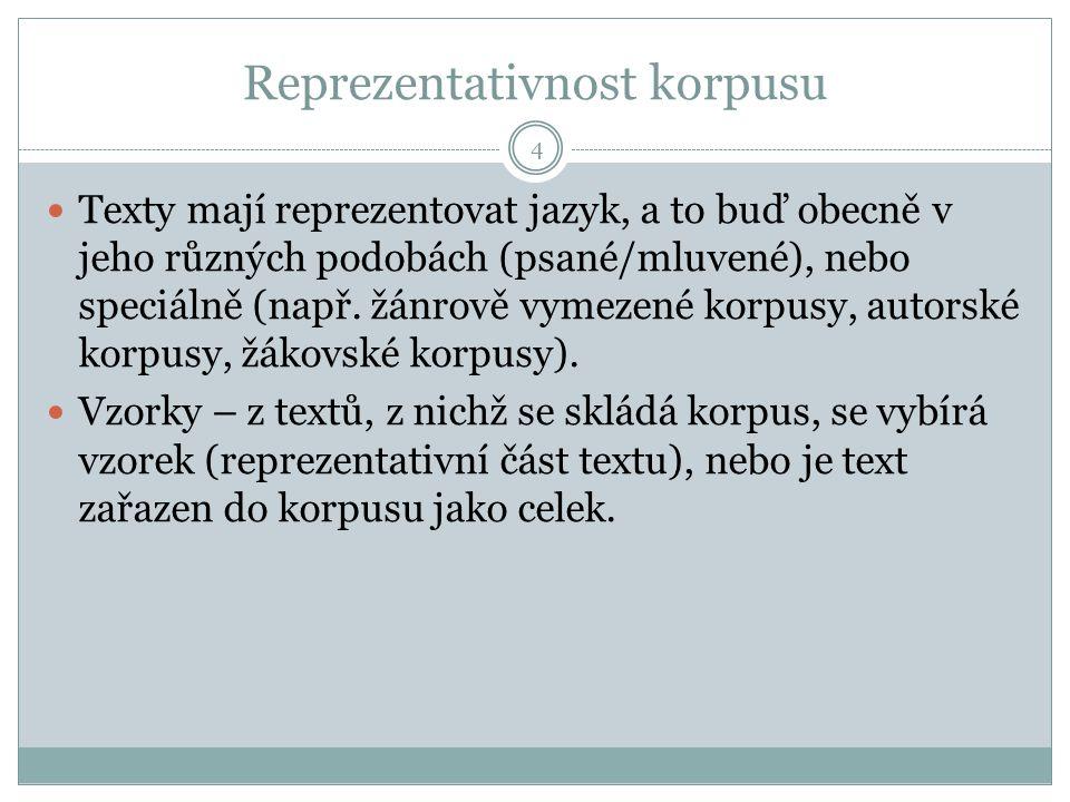 Reprezentativnost korpusu 4 Texty mají reprezentovat jazyk, a to buď obecně v jeho různých podobách (psané/mluvené), nebo speciálně (např. žánrově vym