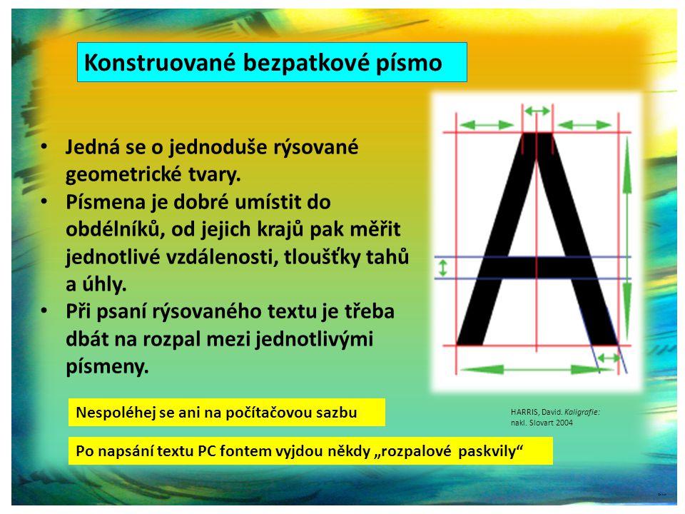 Konstruované bezpatkové písmo ©c.zuk Jedná se o jednoduše rýsované geometrické tvary.