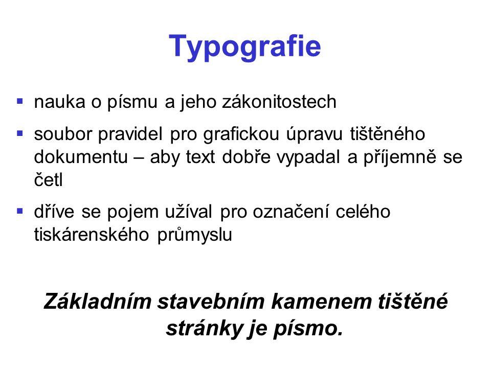 Typografie   nauka o písmu a jeho zákonitostech   soubor pravidel pro grafickou úpravu tištěného dokumentu – aby text dobře vypadal a příjemně se