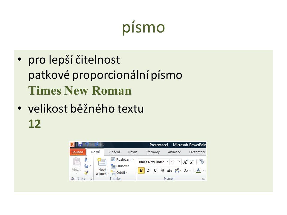 písmo pro lepší čitelnost patkové proporcionální písmo Times New Roman velikost běžného textu 12