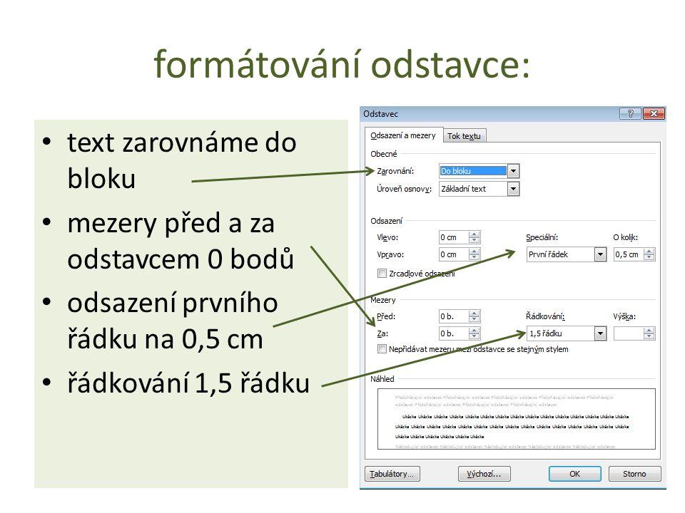 formátování odstavce: text zarovnáme do bloku mezery před a za odstavcem 0 bodů odsazení prvního řádku na 0,5 cm řádkování 1,5 řádku