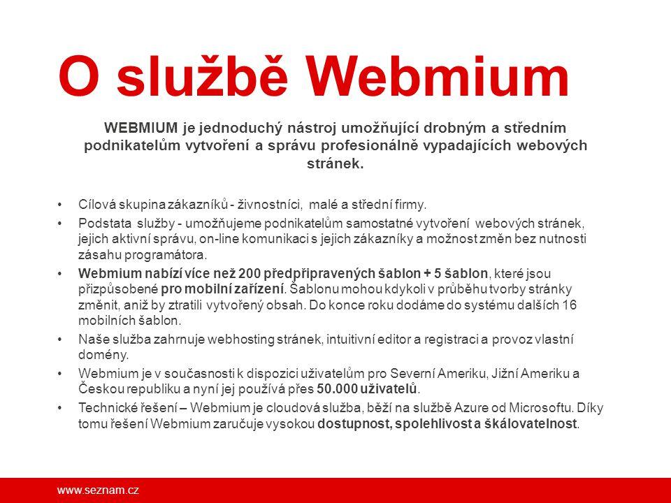 www.seznam.cz Webmium – nástroj pro tvorbu a správu moderního webu Nástroj pro snadnou úpravu a aktualizaci webu Základní vytvoření webu dle požadavků klienta Statistiky návštěvnosti Moderní web s optimalizací zobrazení pro všechna zařízení.