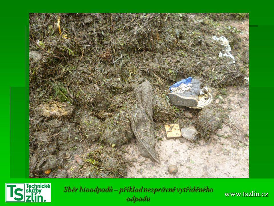 www.tszlin.cz Sběr bioodpadů – příklad nesprávně vytříděného odpadu