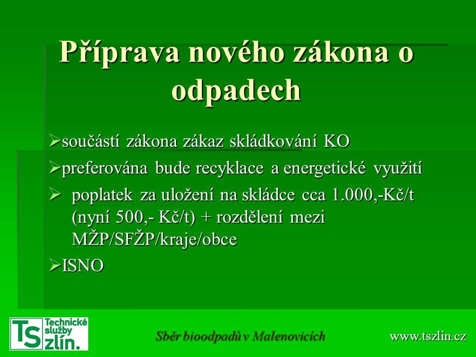 Příprava nového zákona o odpadech  součástí zákona zákaz skládkování KO  preferována bude recyklace a energetické využití  poplatek za uložení na s