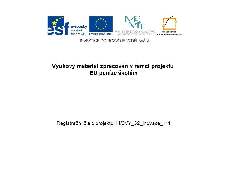 Výukový materiál zpracován v rámci projektu EU peníze školám Registrační číslo projektu: III/2VY_32_inovace_111
