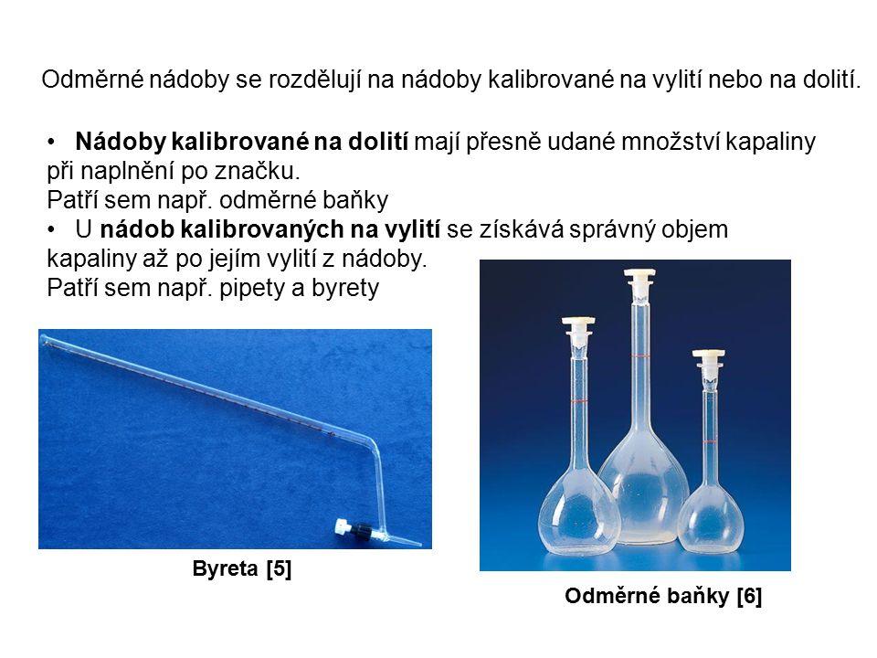 Odměrné nádoby se rozdělují na nádoby kalibrované na vylití nebo na dolití.