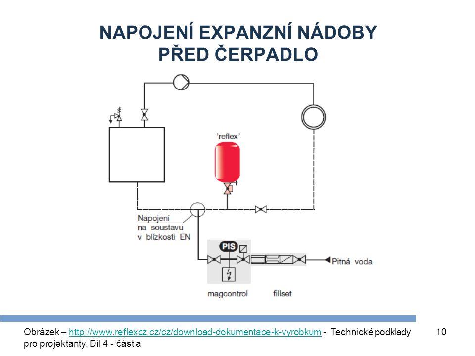 10 NAPOJENÍ EXPANZNÍ NÁDOBY PŘED ČERPADLO Obrázek – http://www.reflexcz.cz/cz/download-dokumentace-k-vyrobkum - Technické podklady pro projektanty, Dí