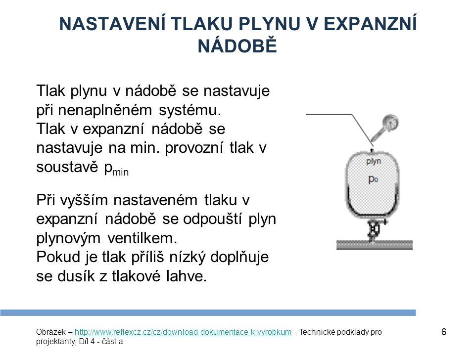 7 MINIMÁLNÍ PROVOZNÍ PŘETLAK V SOUSTAVĚ p min = p h + p r + ∆p č (kPa) p h – hydrostatický tlak daný výškovým rozdílem mezi expanzní nádobou a nejvyšším místem soustavy, p r – tlaková rezerva (obvykle 20 kPa), ∆p č – diferenční tlak na oběhovém čerpadle, uvažuje se pouze v případě, že expanzní nádoba je napojena za čerpadlem.