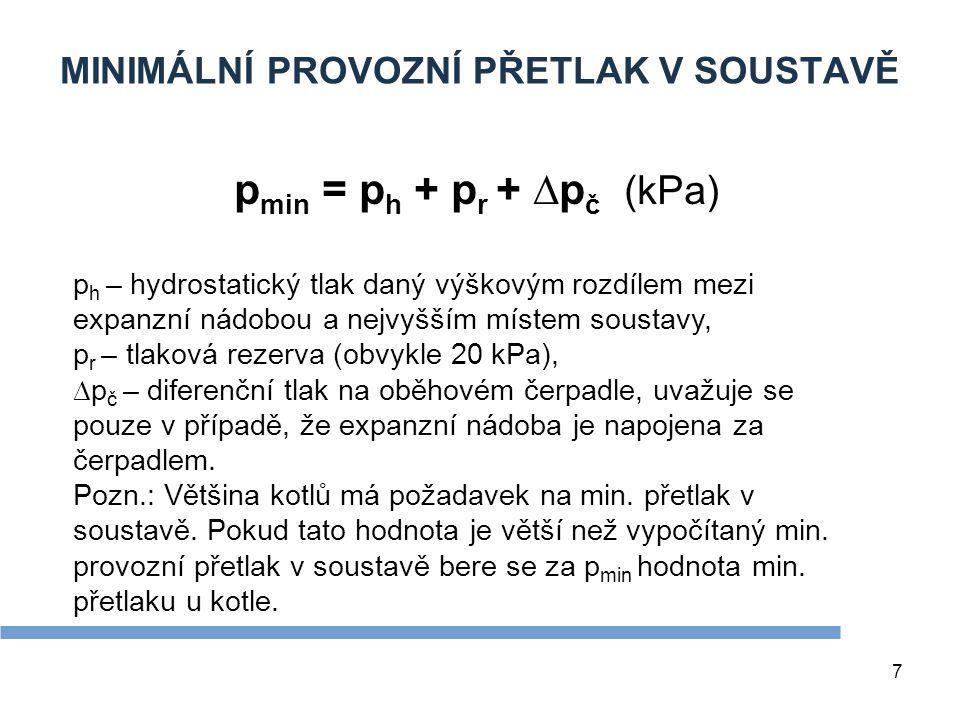 7 MINIMÁLNÍ PROVOZNÍ PŘETLAK V SOUSTAVĚ p min = p h + p r + ∆p č (kPa) p h – hydrostatický tlak daný výškovým rozdílem mezi expanzní nádobou a nejvyšš