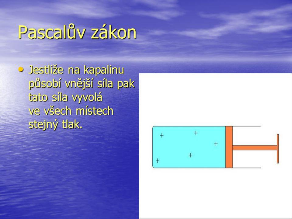Pascalův zákon Jestliže na kapalinu působí vnější síla pak tato síla vyvolá ve všech místech stejný tlak.