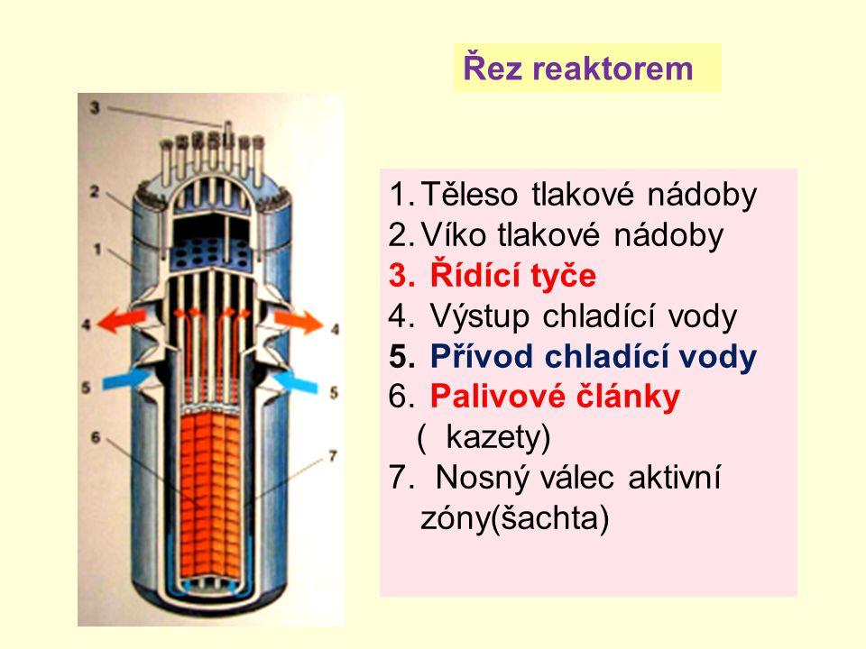 1.Těleso tlakové nádoby 2.Víko tlakové nádoby 3. Řídící tyče 4. Výstup chladící vody 5. Přívod chladící vody 6. Palivové články ( kazety) 7. Nosný vál