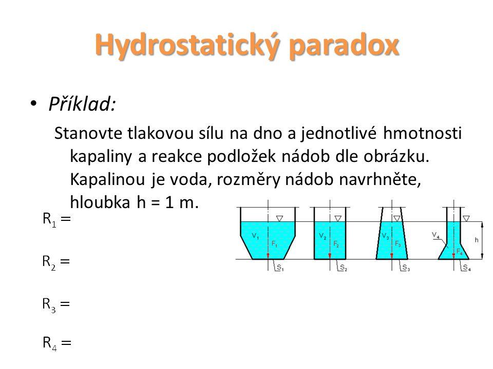 Příklad: Stanovte tlakovou sílu na dno a jednotlivé hmotnosti kapaliny a reakce podložek nádob dle obrázku. Kapalinou je voda, rozměry nádob navrhněte