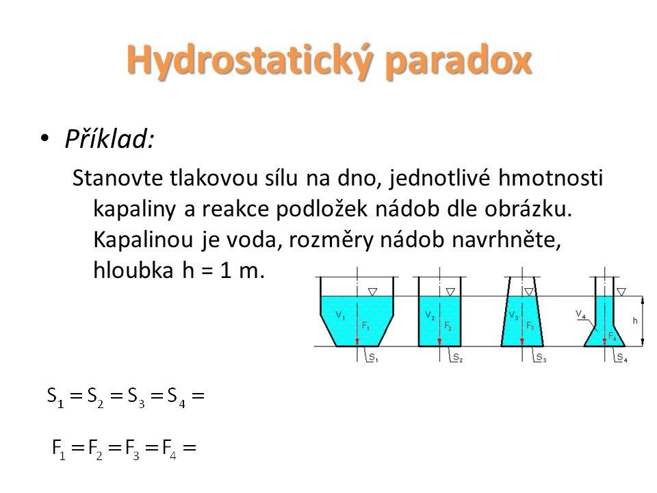 Příklad: Stanovte tlakovou sílu na dno a jednotlivé hmotnosti kapaliny a reakce podložek nádob dle obrázku.