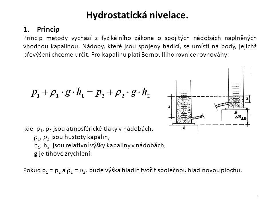 2 1.Princip Princip metody vychází z fyzikálního zákona o spojitých nádobách naplněných vhodnou kapalinou. Nádoby, které jsou spojeny hadicí, se umíst