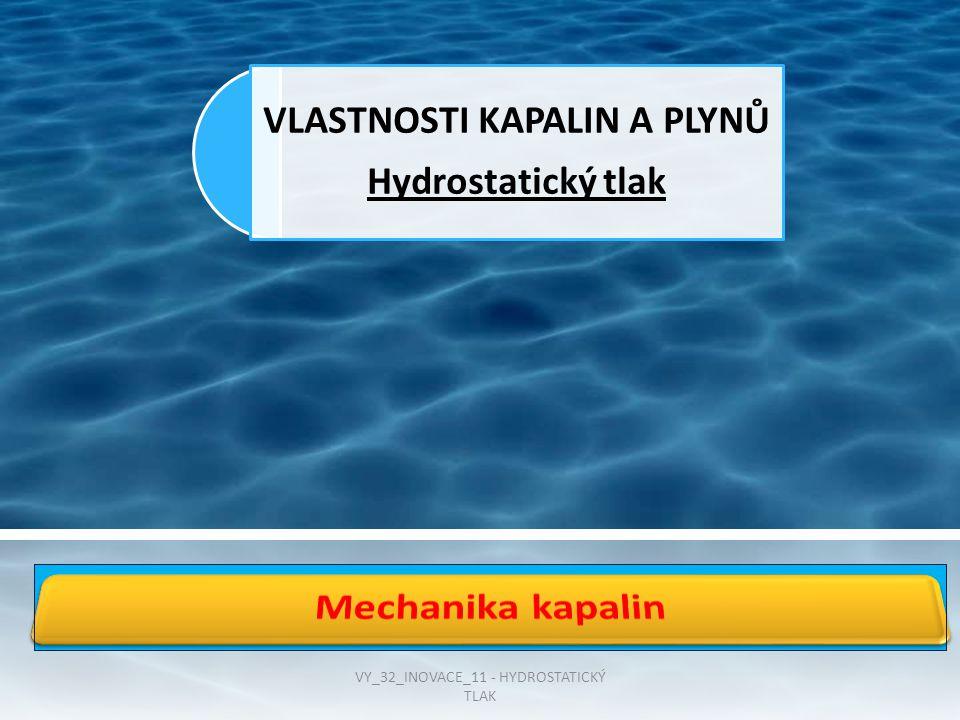 VLASTNOSTI KAPALIN A PLYNŮ Hydrostatický tlak VY_32_INOVACE_11 - HYDROSTATICKÝ TLAK