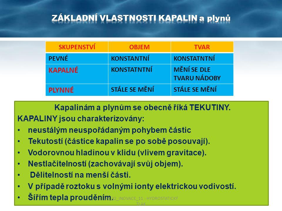 Kapalinám a plynům se obecně říká TEKUTINY. KAPALINY jsou charakterizovány: neustálým neuspořádaným pohybem částic Tekutostí (částice kapalin se po so