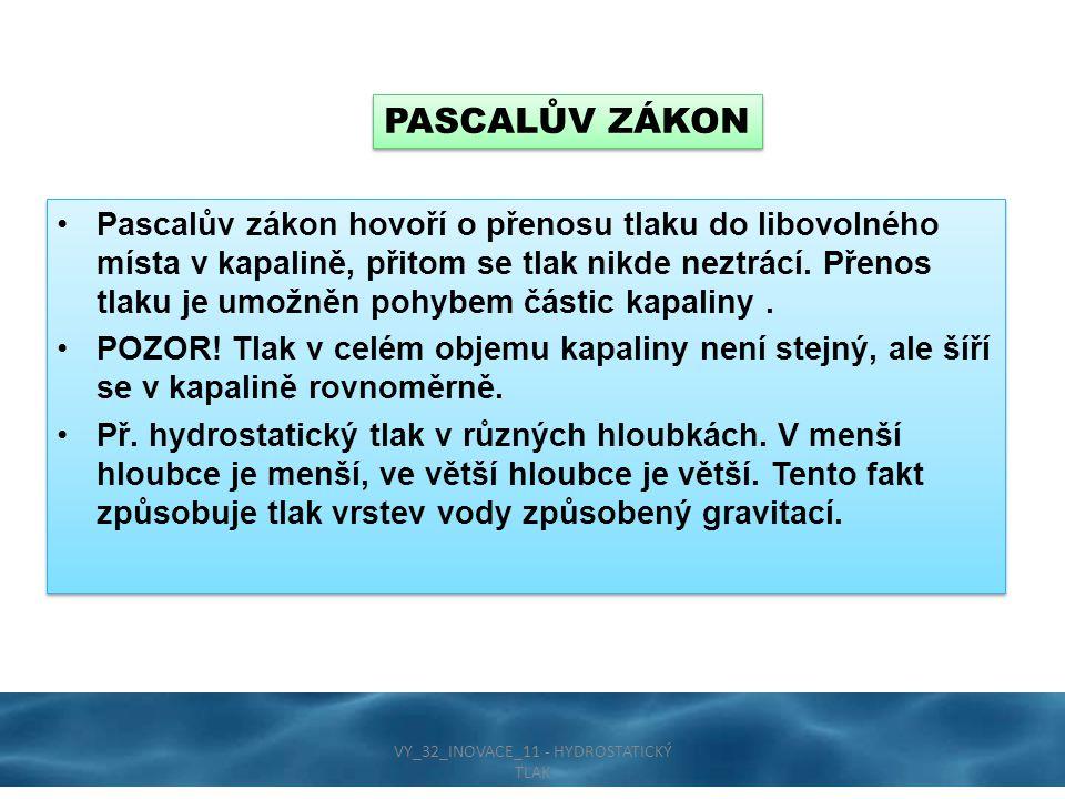 Pascalův zákon hovoří o přenosu tlaku do libovolného místa v kapalině, přitom se tlak nikde neztrácí. Přenos tlaku je umožněn pohybem částic kapaliny.