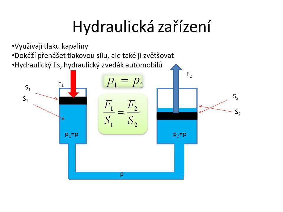 Hydraulická zařízení Využívají tlaku kapaliny Dokáží přenášet tlakovou sílu, ale také jí zvětšovat Hydraulický lis, hydraulický zvedák automobilů S2S2