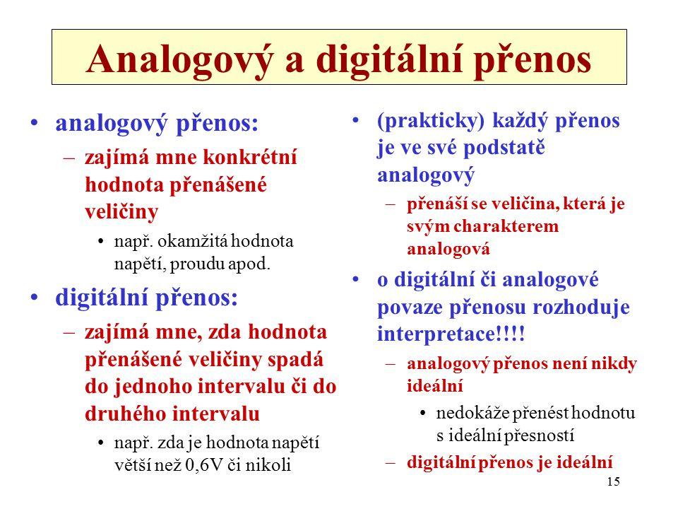 15 Analogový a digitální přenos analogový přenos: –zajímá mne konkrétní hodnota přenášené veličiny např. okamžitá hodnota napětí, proudu apod. digitál