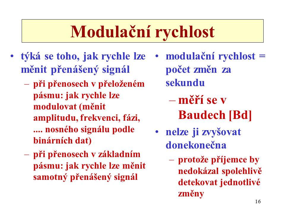 16 Modulační rychlost týká se toho, jak rychle lze měnit přenášený signál –při přenosech v přeloženém pásmu: jak rychle lze modulovat (měnit amplitudu